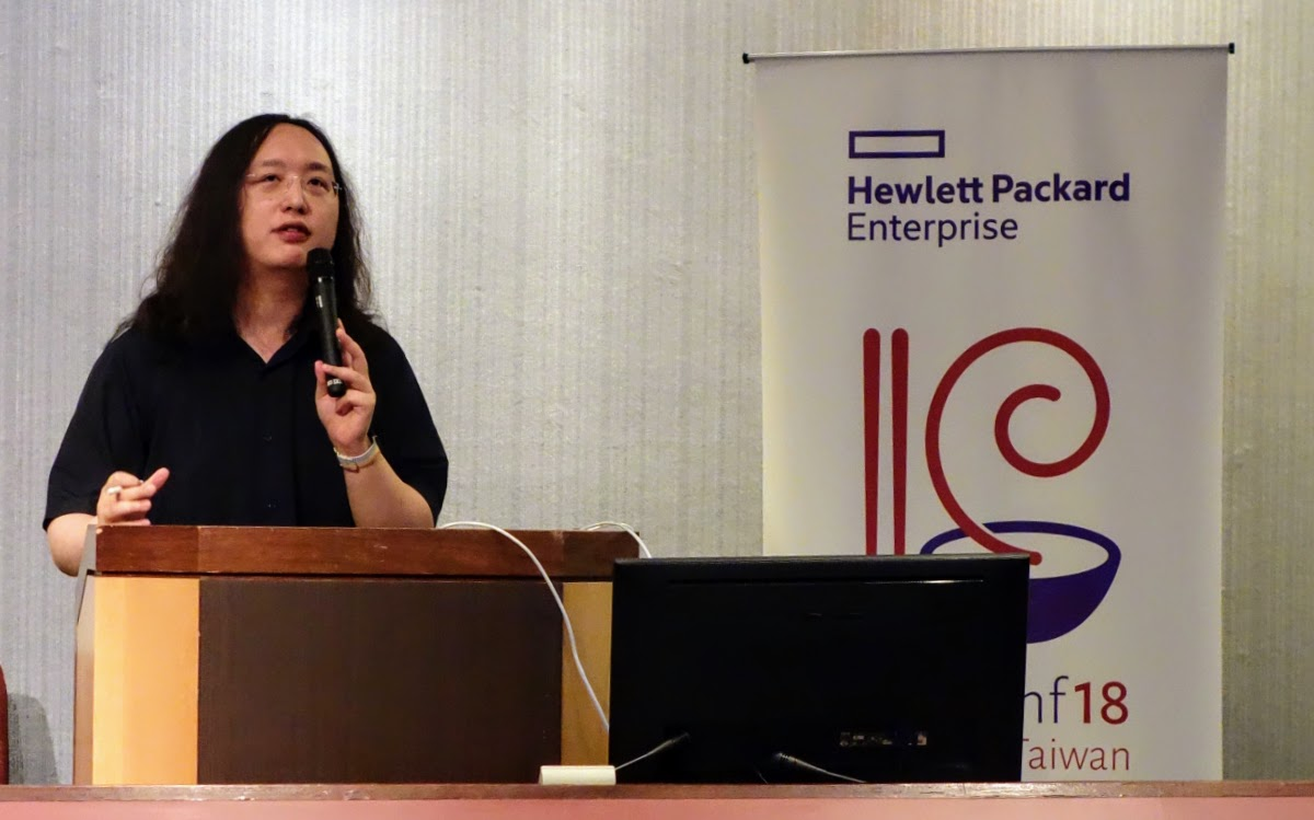 Minister Tang speaking at DebConf18